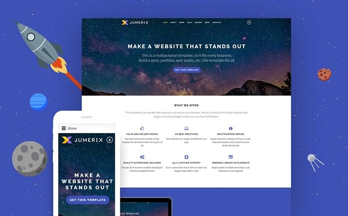 Jumerix - một trong các mẫu theme Joomla đẹp và bán chạy nhất đầu năm 2019