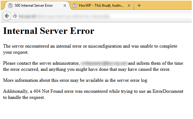 Lỗi Internal Server Error