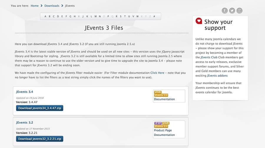 Những phiên bản update của tiện ích mở rộng trong Joomla