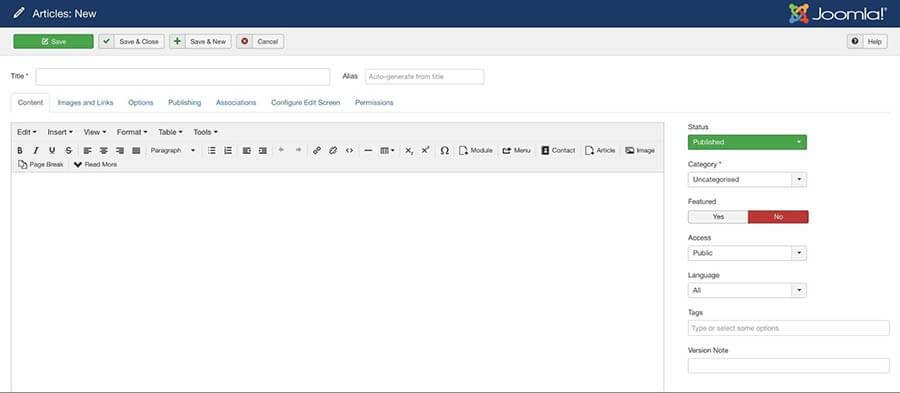 Trình soạn thảo HTML dựa trên TinyMCE của Joomla